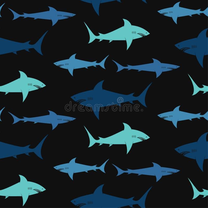 Акулы на черной предпосылке иллюстрация вектора