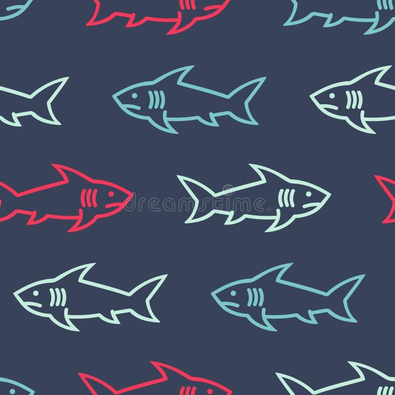Акулы покрасили абстрактную безшовную картину иллюстрация штока