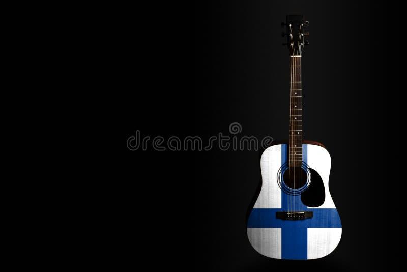 Акустическая гитара концерта с вычерченным флагом Финляндией, на темной предпосылке, как символ национальных творческих способнос стоковые изображения rf