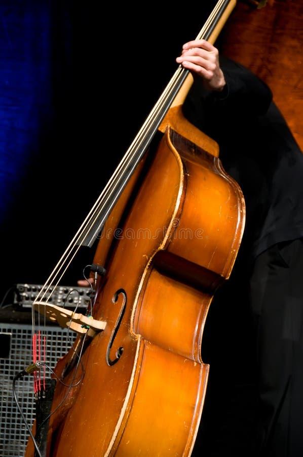 акустический басовый двойной игрок стоковые изображения
