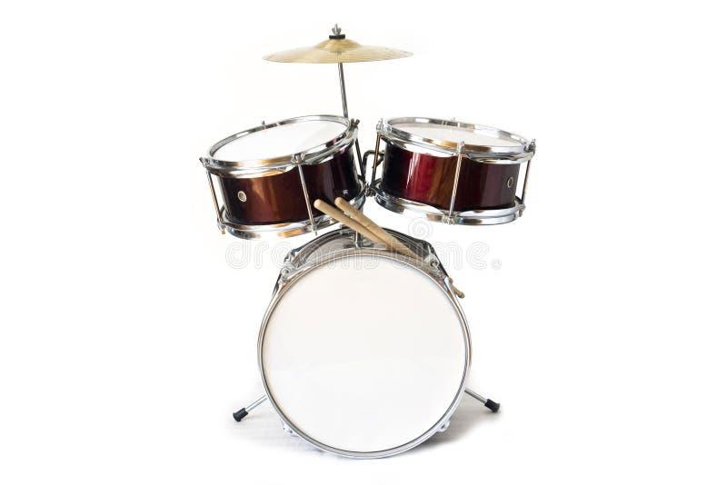 Акустический набор барабанчика изолированный на белой предпосылке стоковая фотография