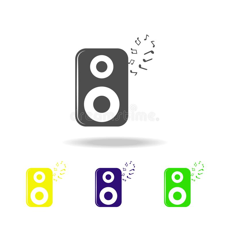 акустический столбец и значки примечаний пестротканые Элемент значка музыки Знаки и значок для вебсайтов, веб-дизайн собрания сим иллюстрация вектора