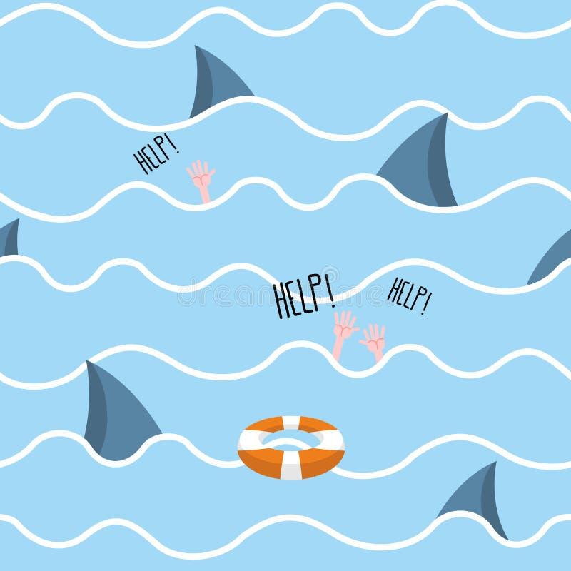 Акула в картине моря безшовной Человек тонет Помощь клекотов пейзажа иллюстрация штока