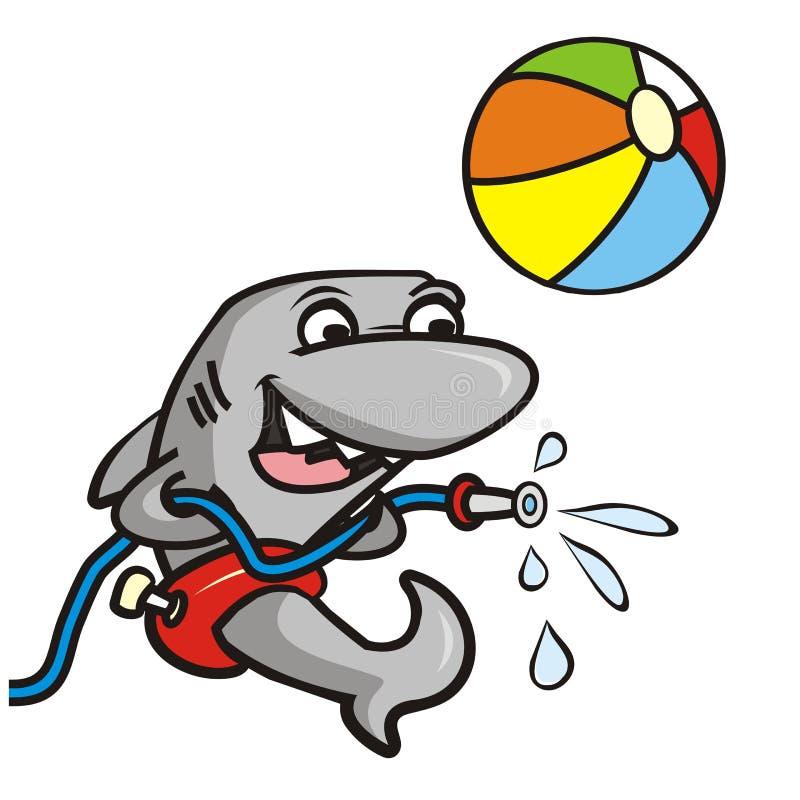 Акула и ванна иллюстрация вектора