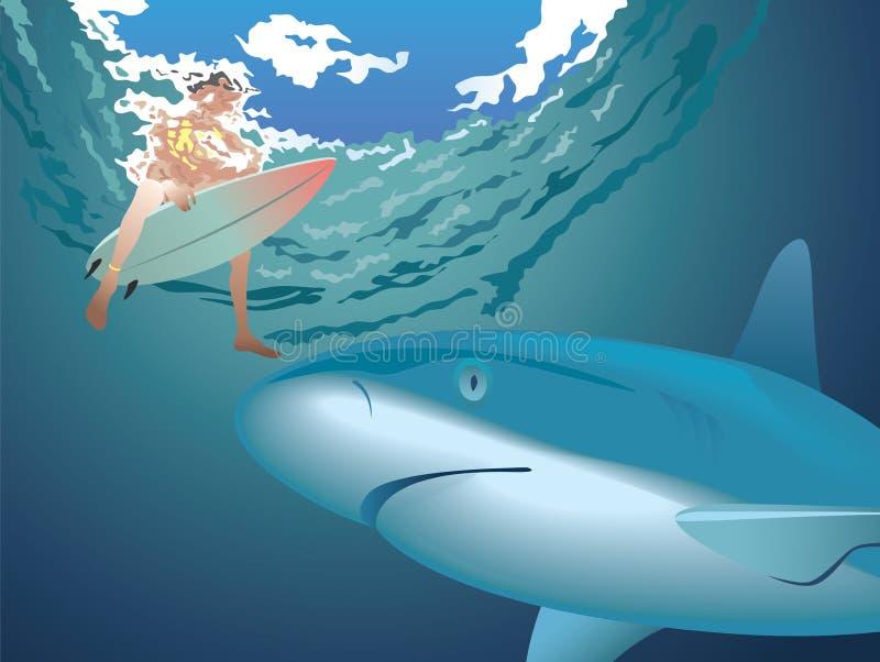 Акула и серфер бесплатная иллюстрация