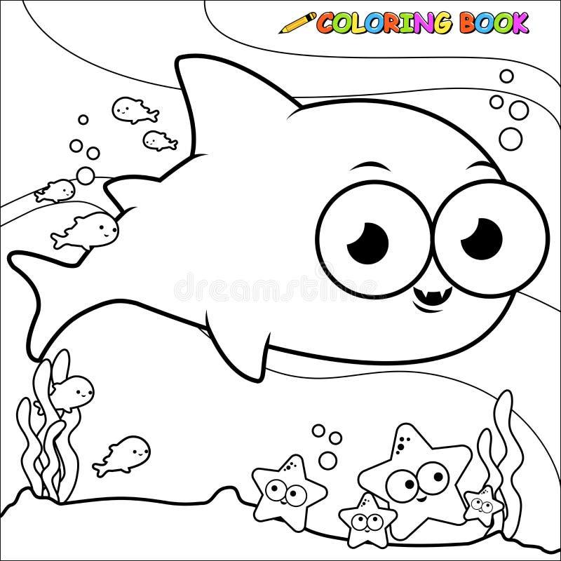 Акула книжка-раскраски подводная бесплатная иллюстрация