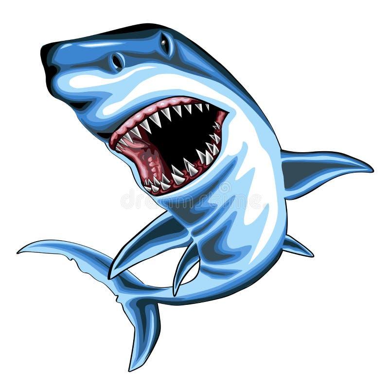 Акула с открытым ртом иллюстрация штока