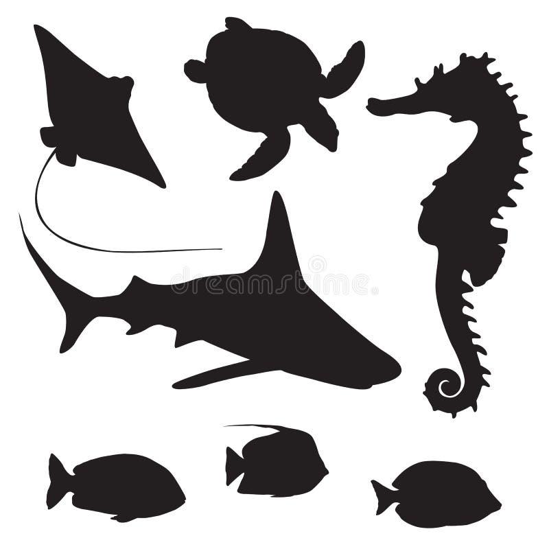 Акула, черепаха, рыбы и силуэт морского конька иллюстрация вектора