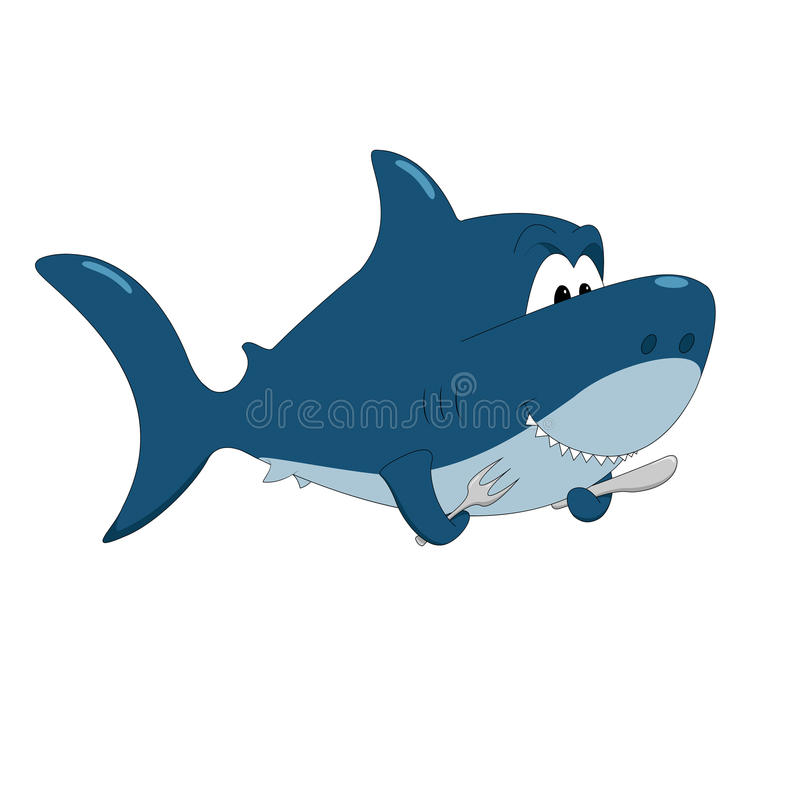 Акула шаржа голодная иллюстрация вектора
