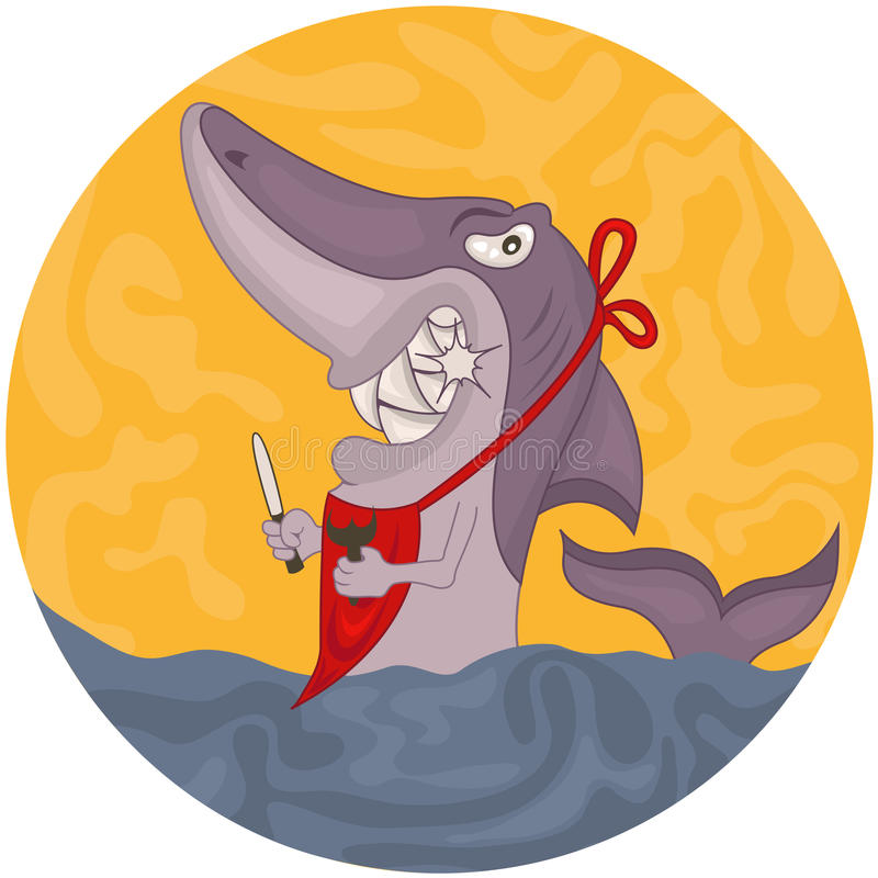 Акула шаржа голодная иллюстрация штока