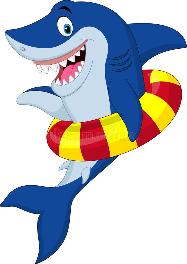 Акула шаржа с раздувным кольцом иллюстрация вектора