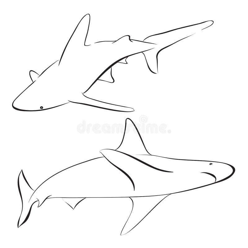 Акулы вектора нарисованные в линии стиле искусства иллюстрация вектора