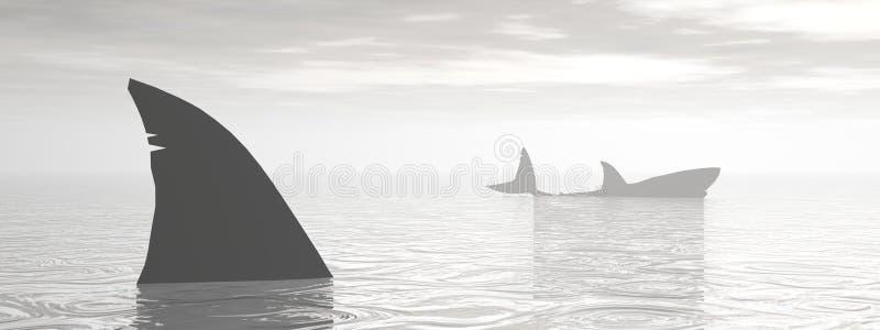 Акулы в океане - 3D представляют бесплатная иллюстрация
