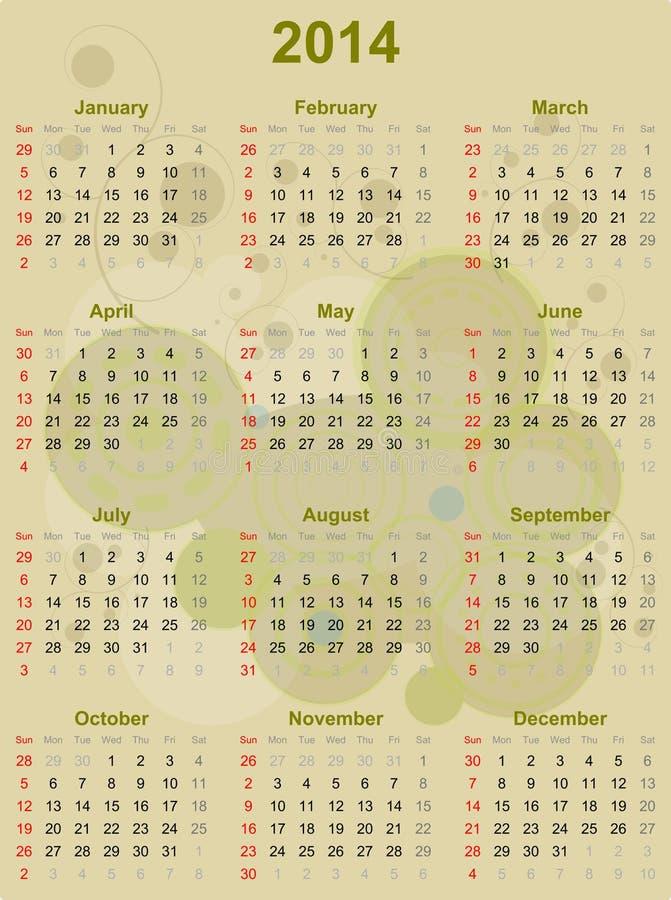 Акцент Брайна 2014 календарей стоковое фото