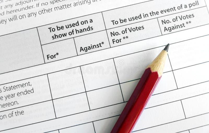 Голосовать на однолетнем общем собрании стоковое изображение
