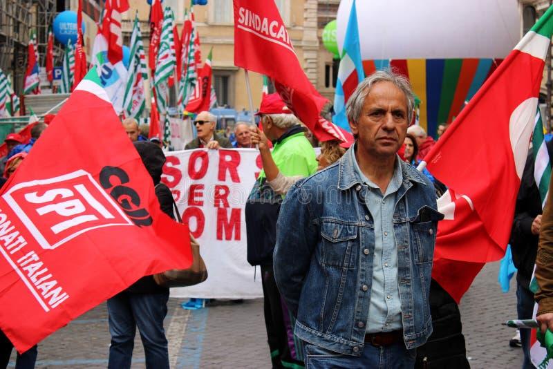 Акция протеста в Риме стоковое фото rf