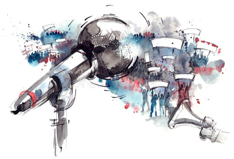 Акция протеста иллюстрация штока