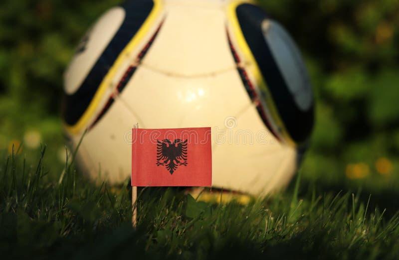 Албанский флаг на деревянной палке Красный квадрат с государственным символом в середине Футбольная команда Албании Чемпионат мир стоковые изображения