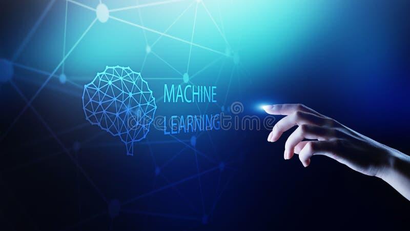 Алгоритмы обучения машины глубокие и искусственный интеллект AI Интернет и концепция технологии на виртуальном экране бесплатная иллюстрация