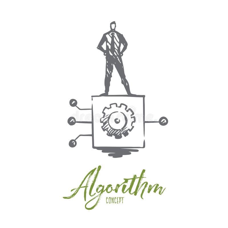 Алгоритм, дело, информация, система, цифровая концепция Вектор нарисованный рукой изолированный иллюстрация вектора