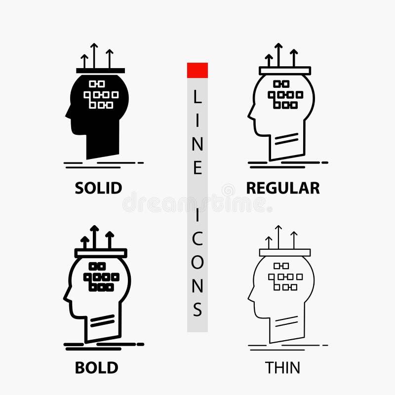 Алгоритм, мозг, заключение, процесс, думая значок в тонких, регулярных, смелых линии и стиле глифа r бесплатная иллюстрация