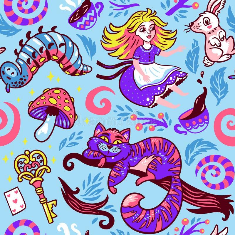 Алиса в картине страны чудес безшовной также вектор иллюстрации притяжки corel иллюстрация вектора