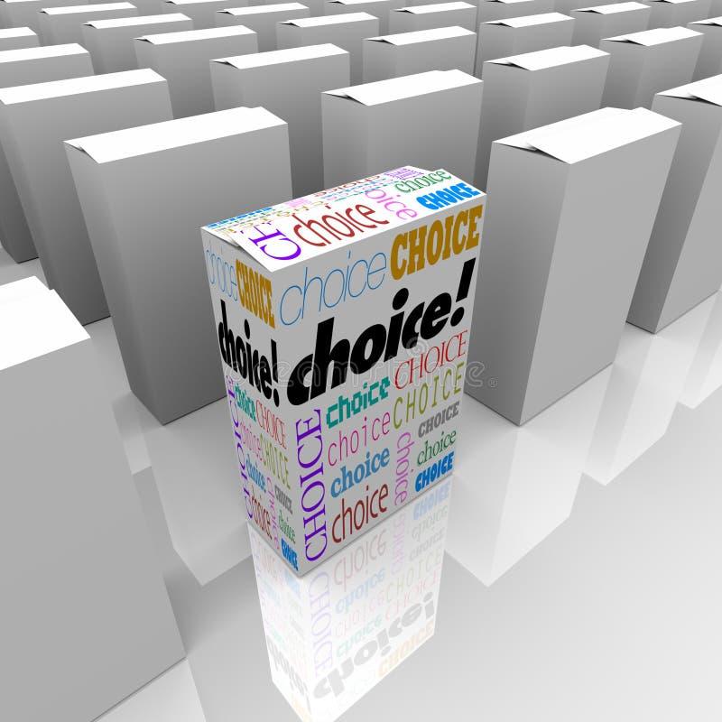 алтернатива кладет выбор в коробку различный много одного иллюстрация вектора