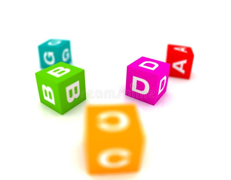 алфавитные игрушки формы кубика иллюстрация вектора