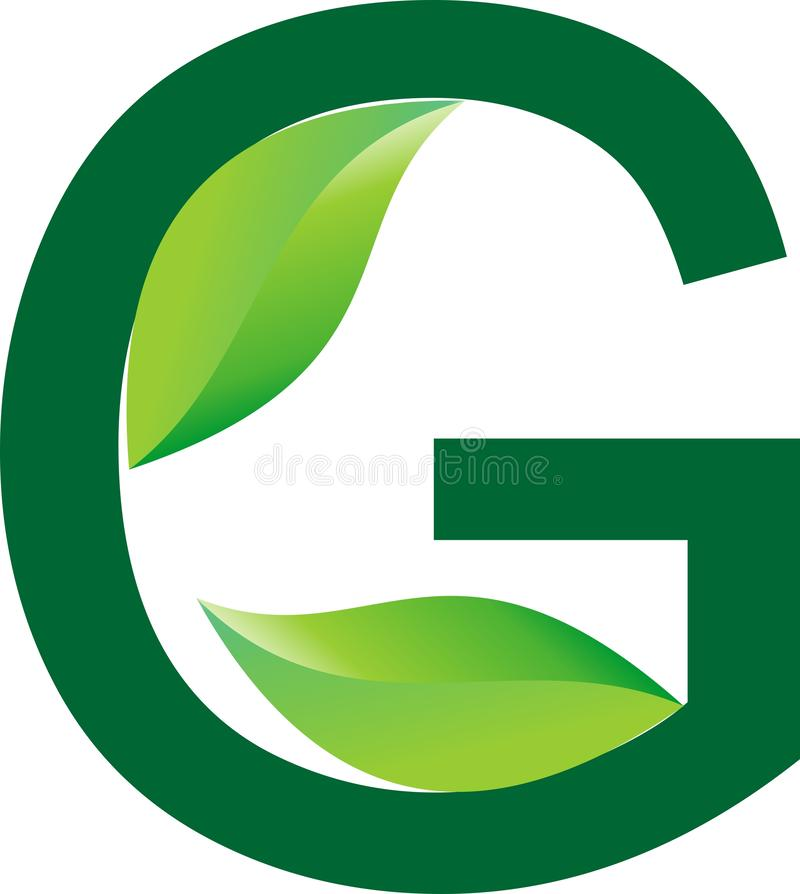 Алфавитный дизайн логотипа зеленого цвета для травяной компании продукта и для дела питомника завода иллюстрация штока
