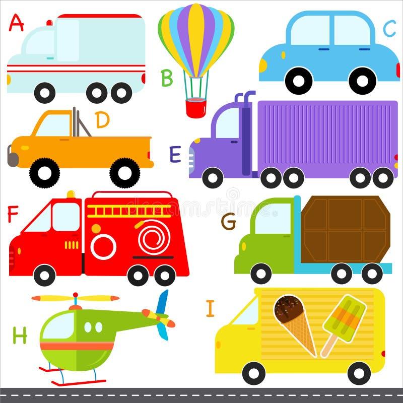 Алфавиты A-Z: Автомобиль/корабли/перевозка иллюстрация штока