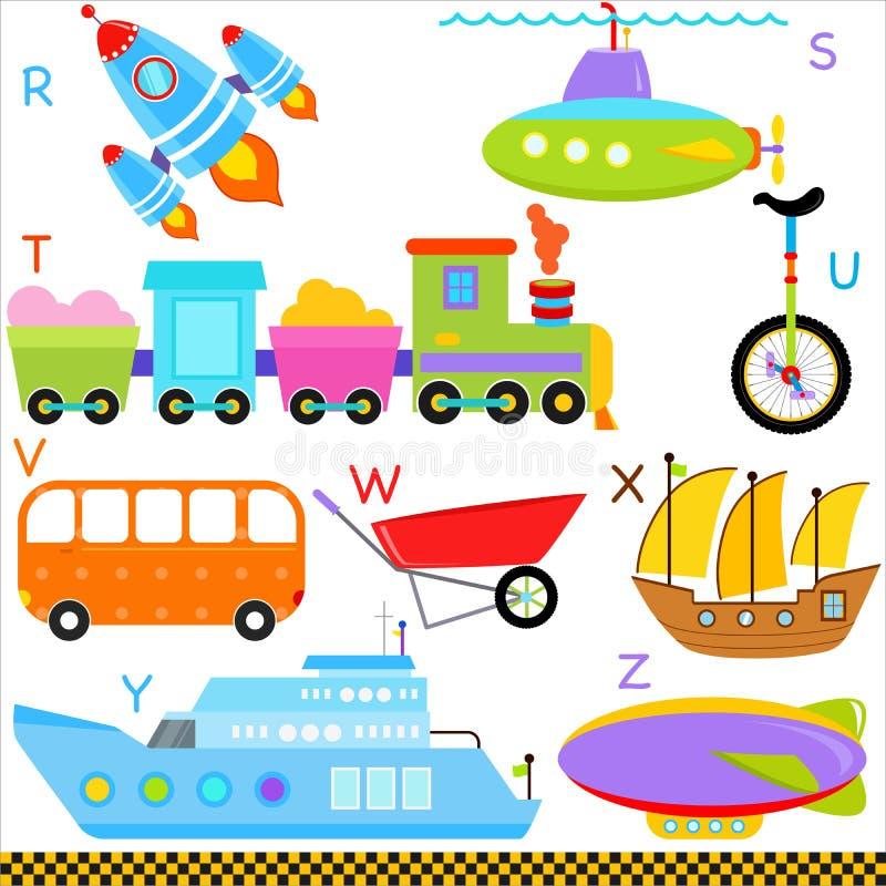 Алфавиты A-Z: Автомобиль/корабли/перевозка бесплатная иллюстрация