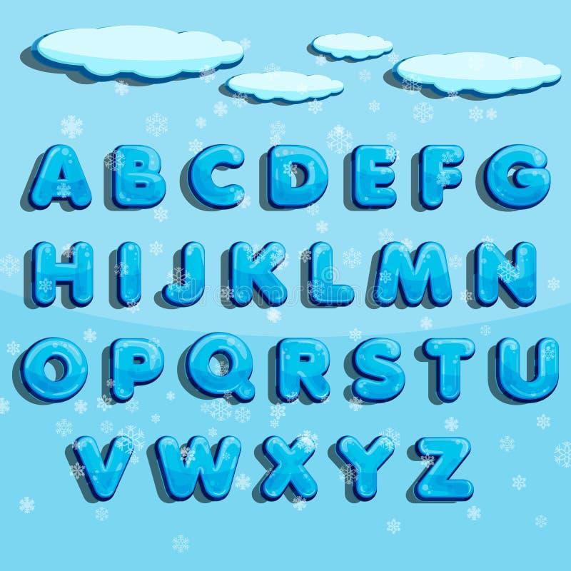 Алфавит вектора зимы с снегом Пометьте буквами abc, лед - холодный шрифт, шрифт заморозка сезона, оформление или typeset Illu век иллюстрация штока