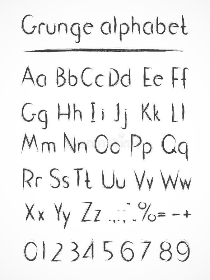 Алфавит вектора нарисованный рукой в grung стиля иллюстрация вектора