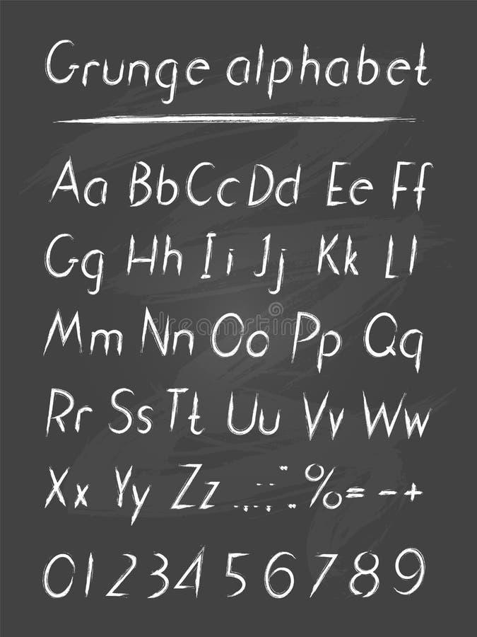 Алфавит вектора нарисованный рукой в grung стиля бесплатная иллюстрация