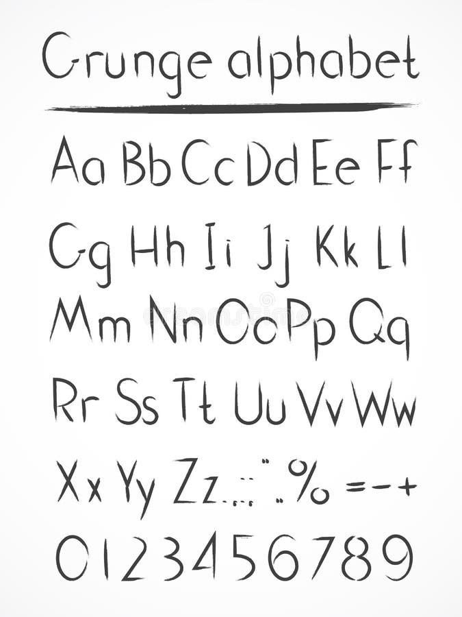 Алфавит вектора нарисованный рукой в grung стиля иллюстрация штока