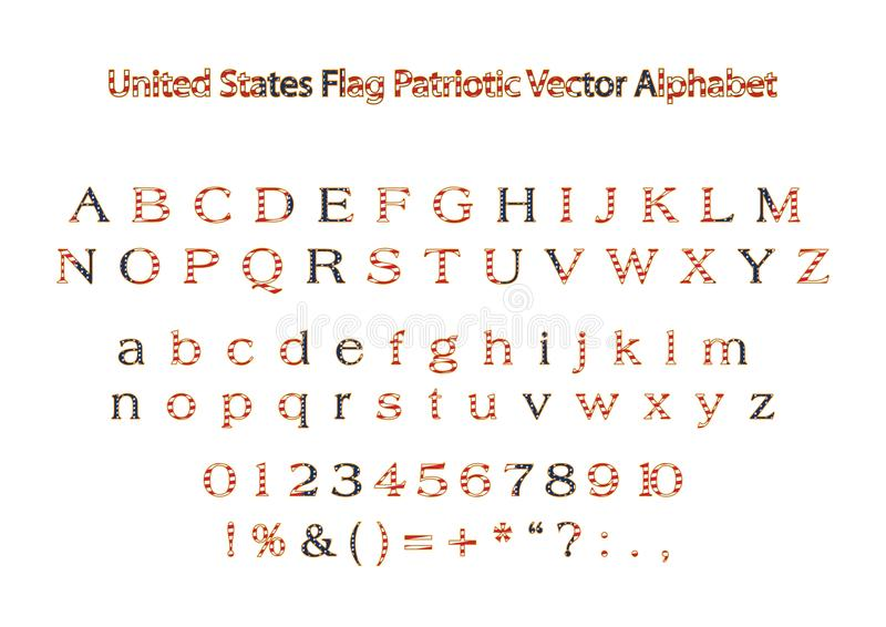 Алфавит вектора флага США Америки патриотический иллюстрация штока