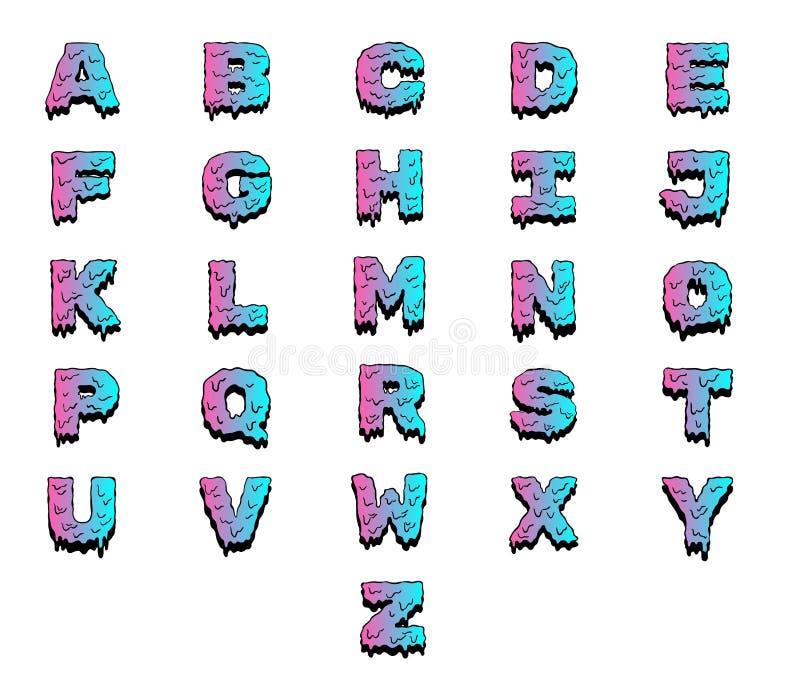 Алфавит влажной краски красочный Набор писем вектора иллюстрация штока