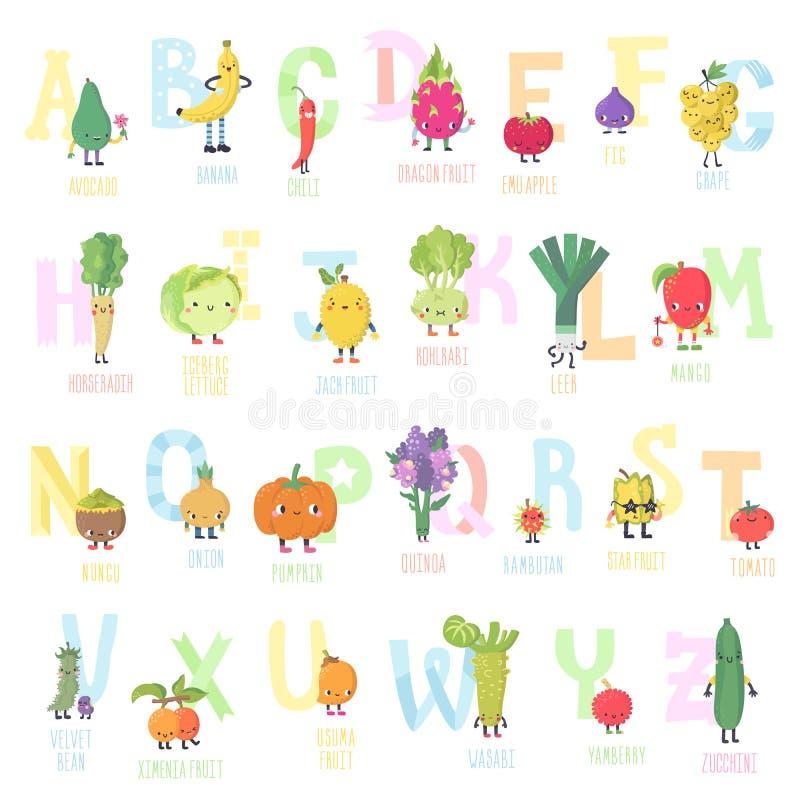 Алфавит в реальном маштабе времени вектора фруктов и овощей милого шаржа часть 2 бесплатная иллюстрация