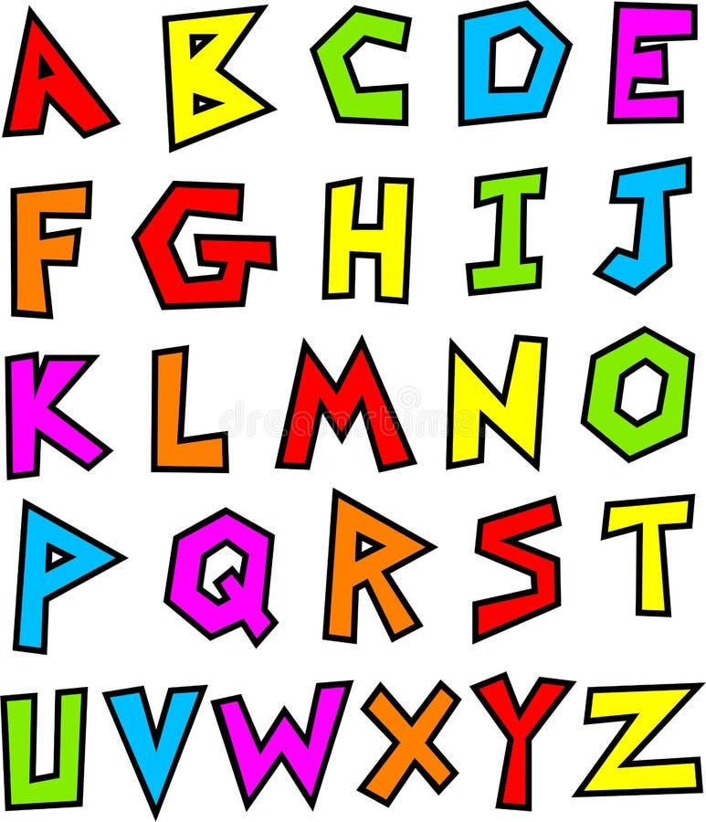 алфавит в стиле фанк бесплатная иллюстрация