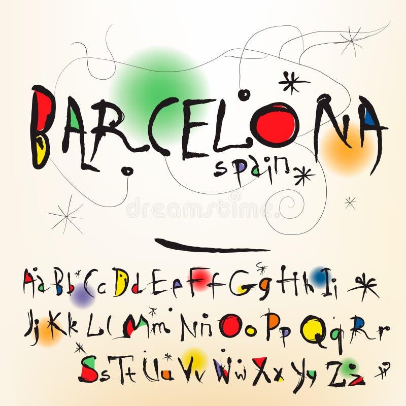 Алфавит в художнике типа испанском Джоан Miro иллюстрация штока