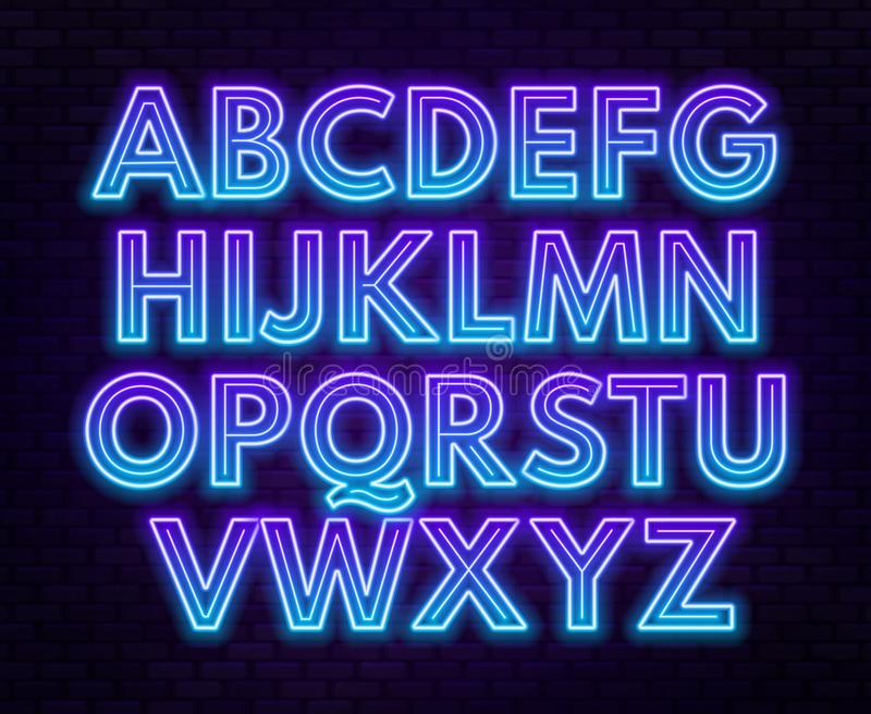 Алфавит голубого пурпурного градиента неоновый на темной предпосылке Яркий шрифт для украшения Прописная буква иллюстрация штока