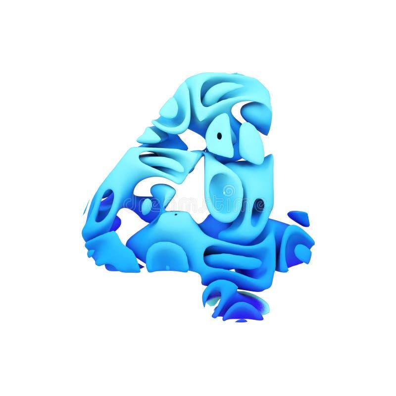 Алфавит 4 Голубой шрифт сделанный выплеска чернил в воде 3d представляют изолировано на белой предпосылке бесплатная иллюстрация