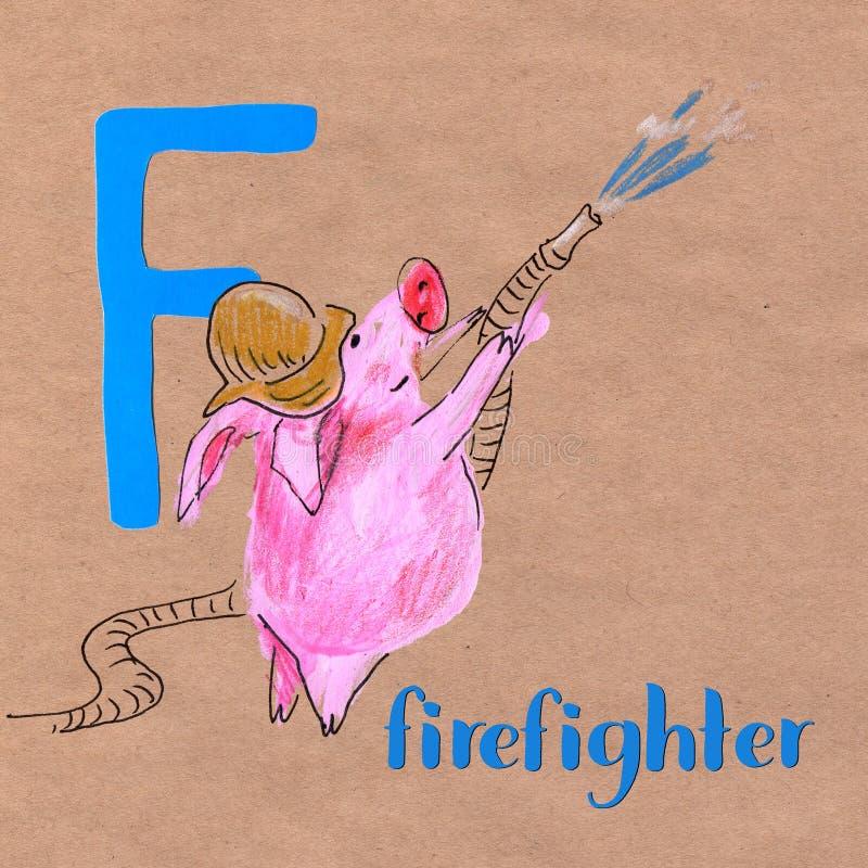 Алфавит для детей с профессией свиньи Письмо f пожарный иллюстрация штока