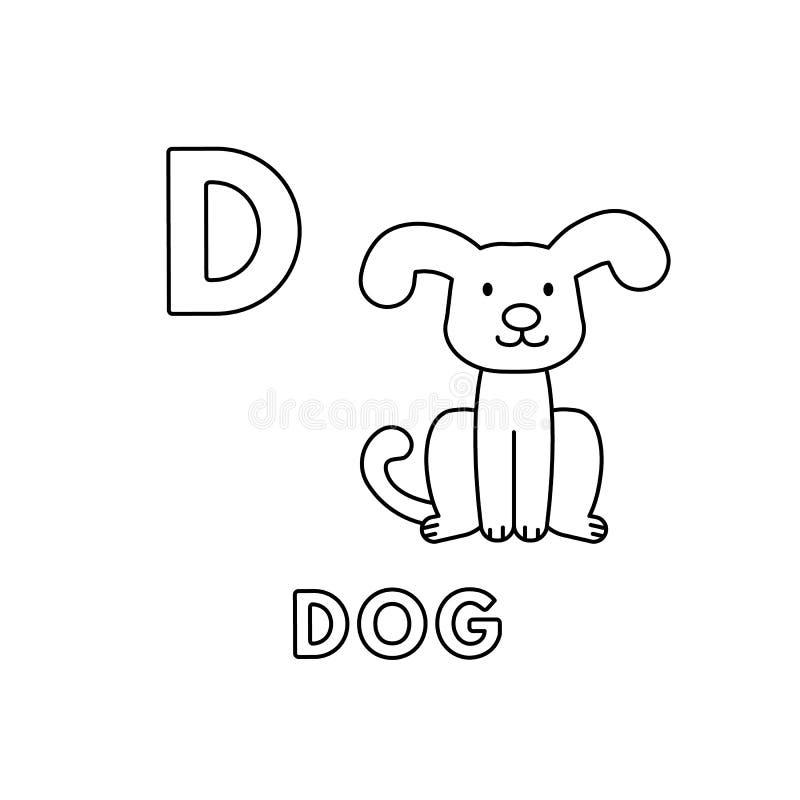 Алфавит животных мультфильма вектора милый Страницы расцветки собаки иллюстрация вектора