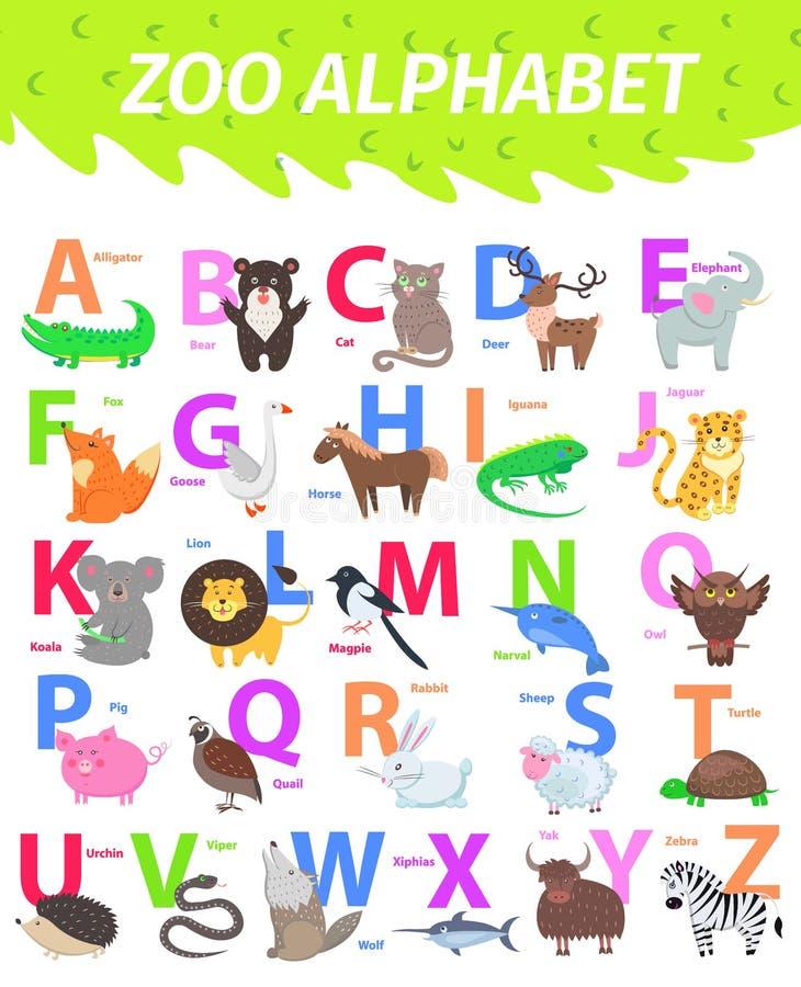 Алфавит зоопарка с вектором милого шаржа животных плоским иллюстрация штока