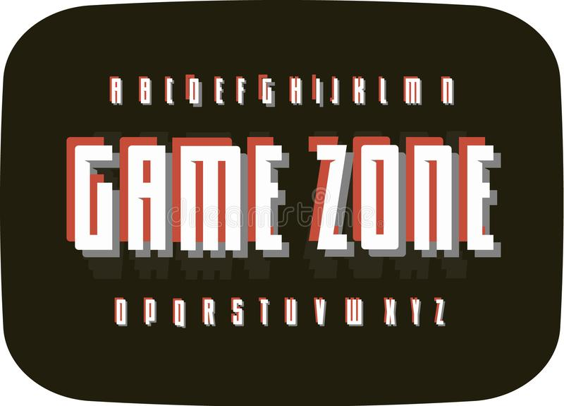 Алфавит игры ретро на черной старой предпосылке экрана ТВ Шаблон шрифта пиксела оформления винтажный Цифров развлекая иллюстрация штока