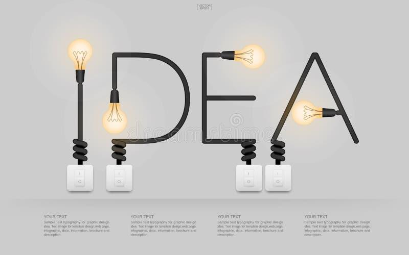 Алфавит ` идеи ` линейный электрической лампочки и выключателя на белой предпосылке бесплатная иллюстрация