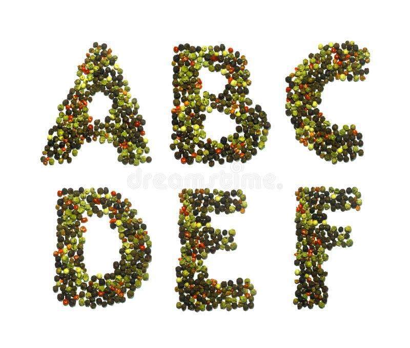 Алфавит и номера перца стоковые изображения rf