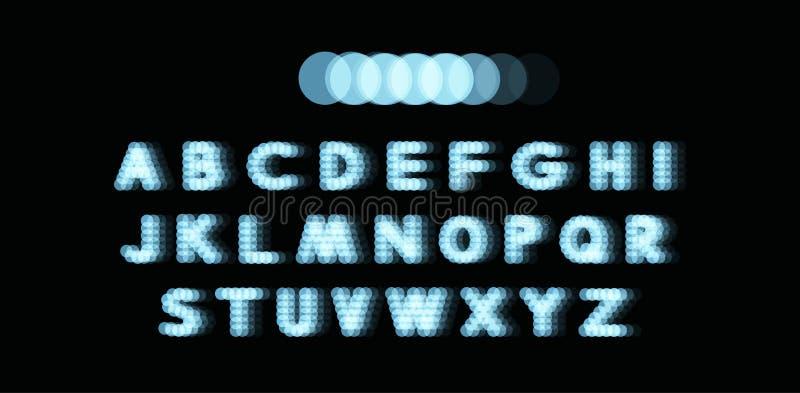 Алфавит неонового света поставленный точки шрифт Абстрактная предпосылка вектора с знаками письма иллюстрация штока