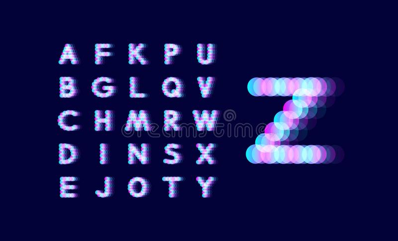 Алфавит неонового света поставленный точки шрифт Абстрактная предпосылка вектора с знаками письма элементы конструкции предпосылк бесплатная иллюстрация